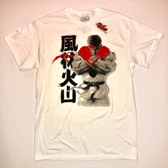 a01c068ba capcom Shirts | Official Street Fighter 5 Logo Ryu White Graphic T ...
